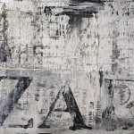 ZARA I. 2011. Acrylic and collage on canvas, 160 x 200